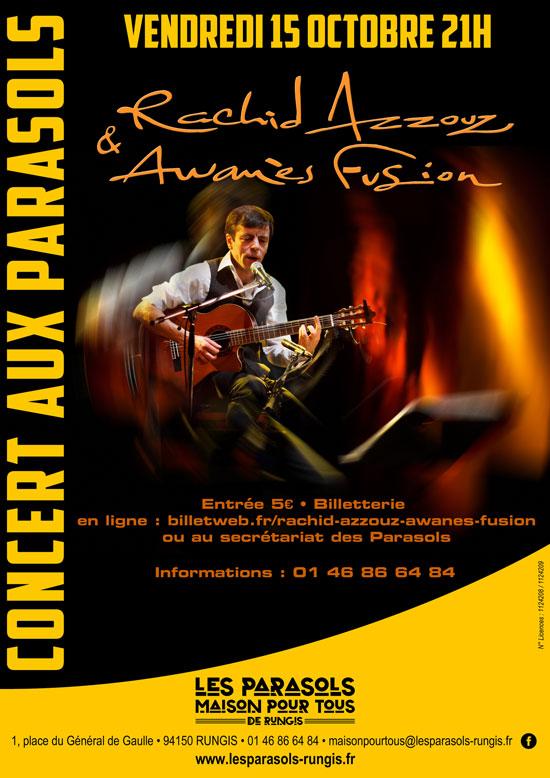 Flyer Concert Rachid Azzouz et Awanès Fusion aux Parasols le 15 octobre 2021